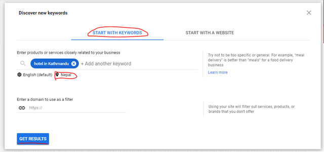 keyword planner discover new keyword