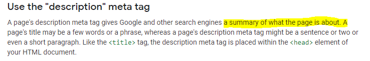 on page seo-meta description definition