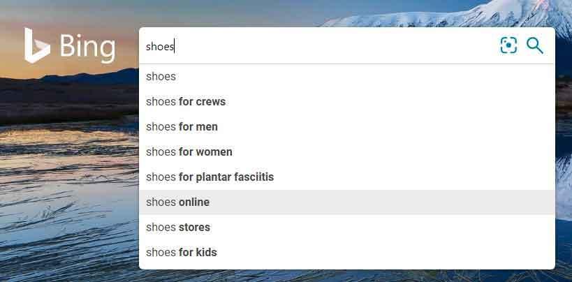 Bing suggested keyword